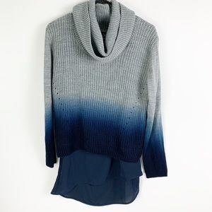 Venus Navy To Grey Ombré Cowl Neck Layered Sweater